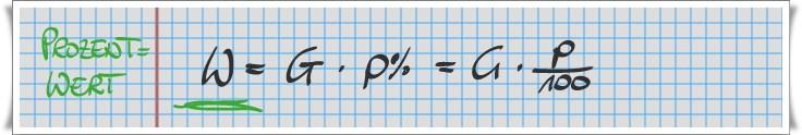 Prozentwert W = G x p%