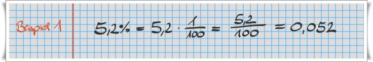 Prozentrechner: Beispiel Dezimalrechnung